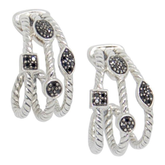 David Yurman Three-Row Confetti Earrings With Black Diamonds - Earrings