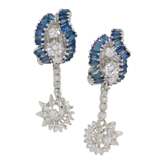 Blue Sapphire and Diamond Drop Earrings Earrings Miscellaneous