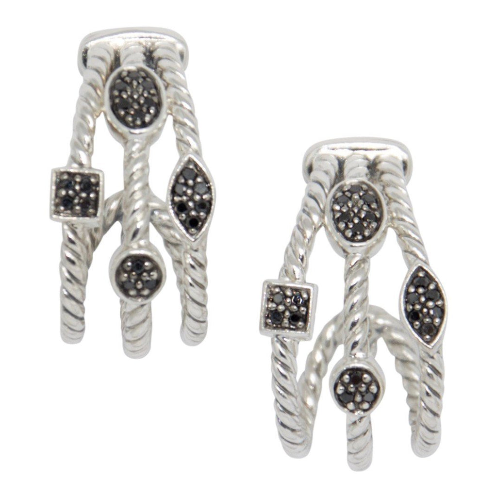 David Yurman Three-Row Confetti Earrings with Black Diamonds Earrings David Yurman