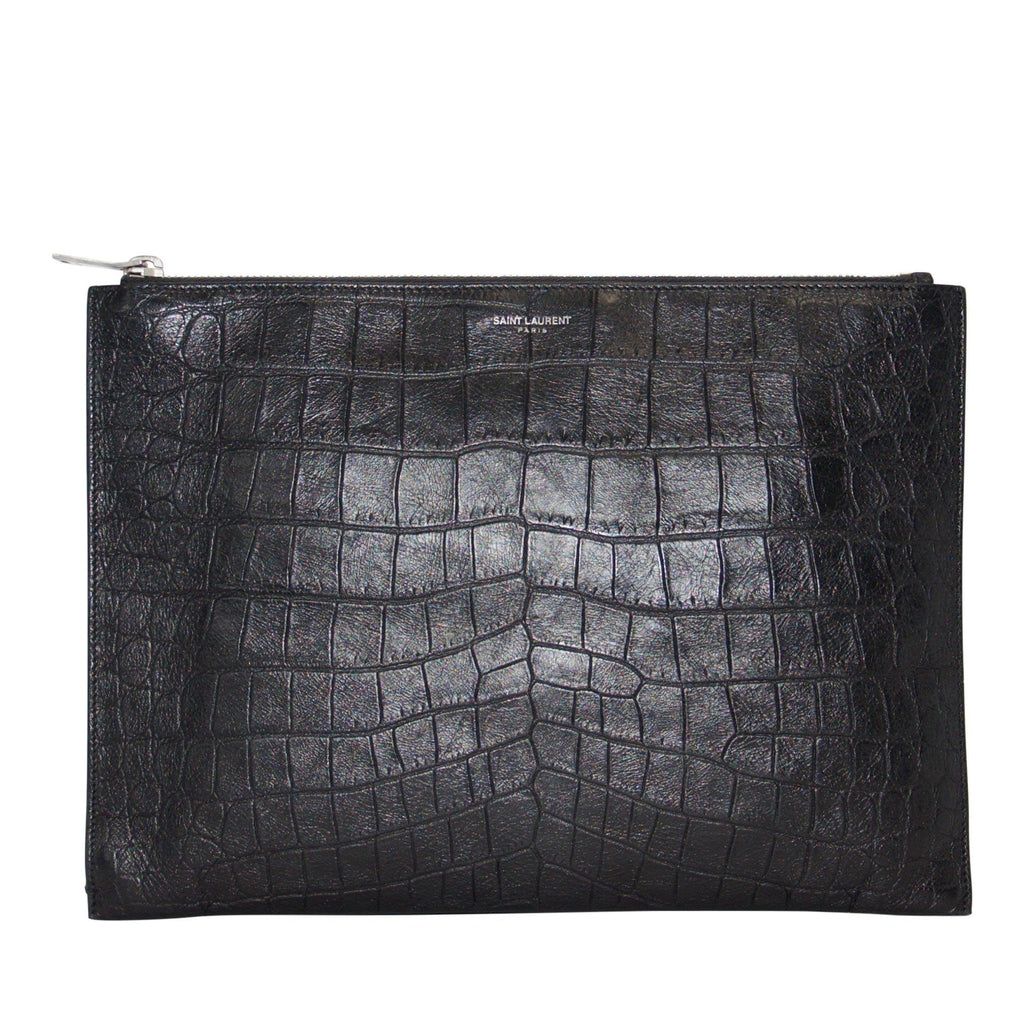Yves Saint Laurent Crocodile Embossed Zip Pouch Bags YSL