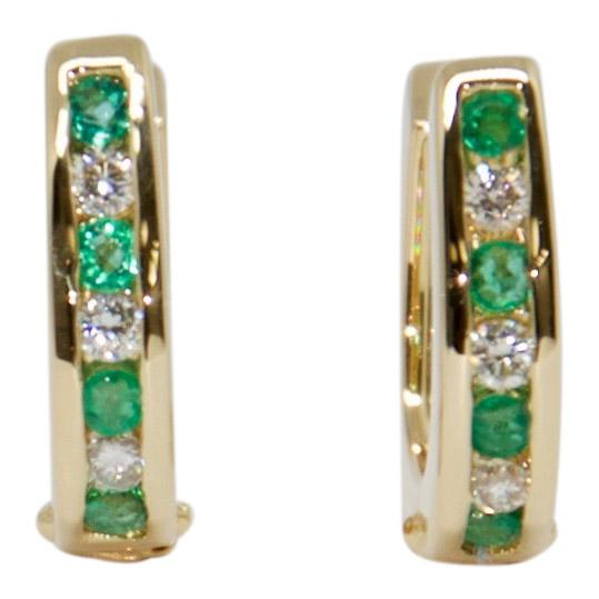 Emerald and Diamond Huggie Earrings Earrings Miscellaneous