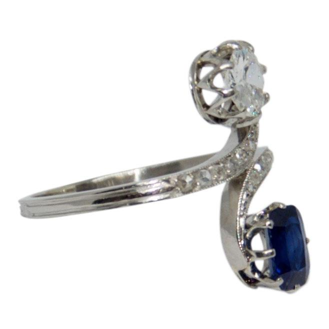 Antique Sapphire and Diamond Ring Rings Antiques
