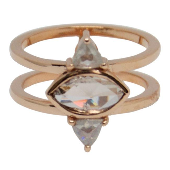 Antique Rose Gold Marquise & Trilliant Cut Diamond Ring