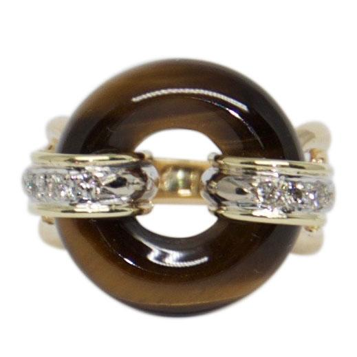 Tiger Eye and Diamond Ring