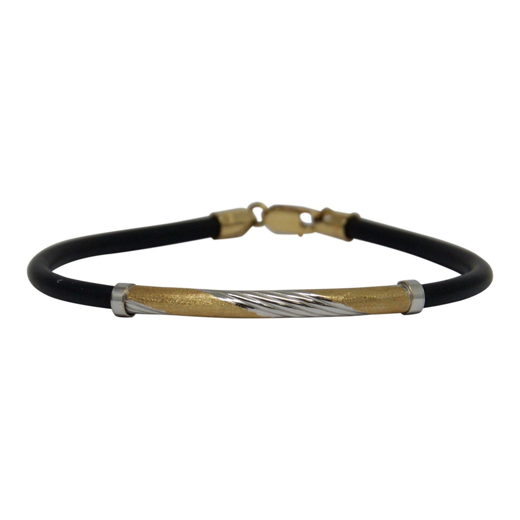 Two-Tone Gold And Rubber Bracelet - Bracelets