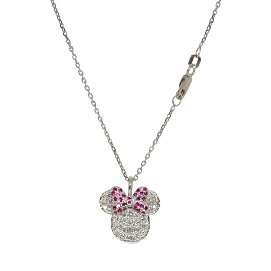 Diamond Minnie Mouse Pendant Necklace