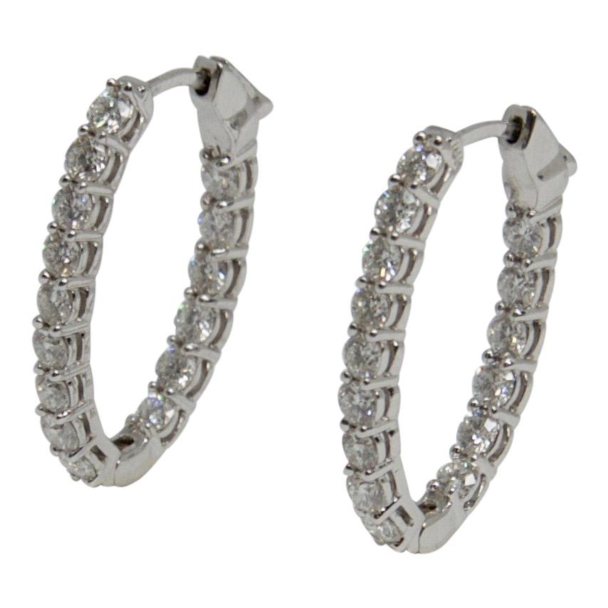 Birks Diamond Oval Hoop Earrings