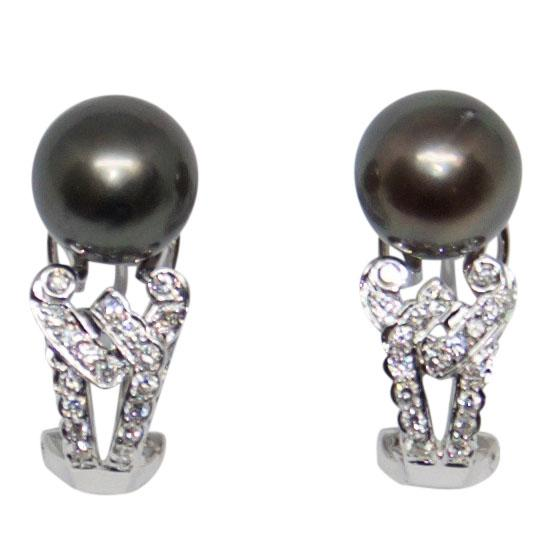 Tahitian South Sea Pearl And Diamond Earrings Earrings Miscellaneous