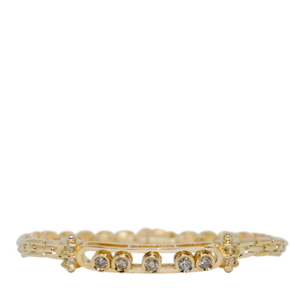 Link Bracelet with Sliding Diamond Bar