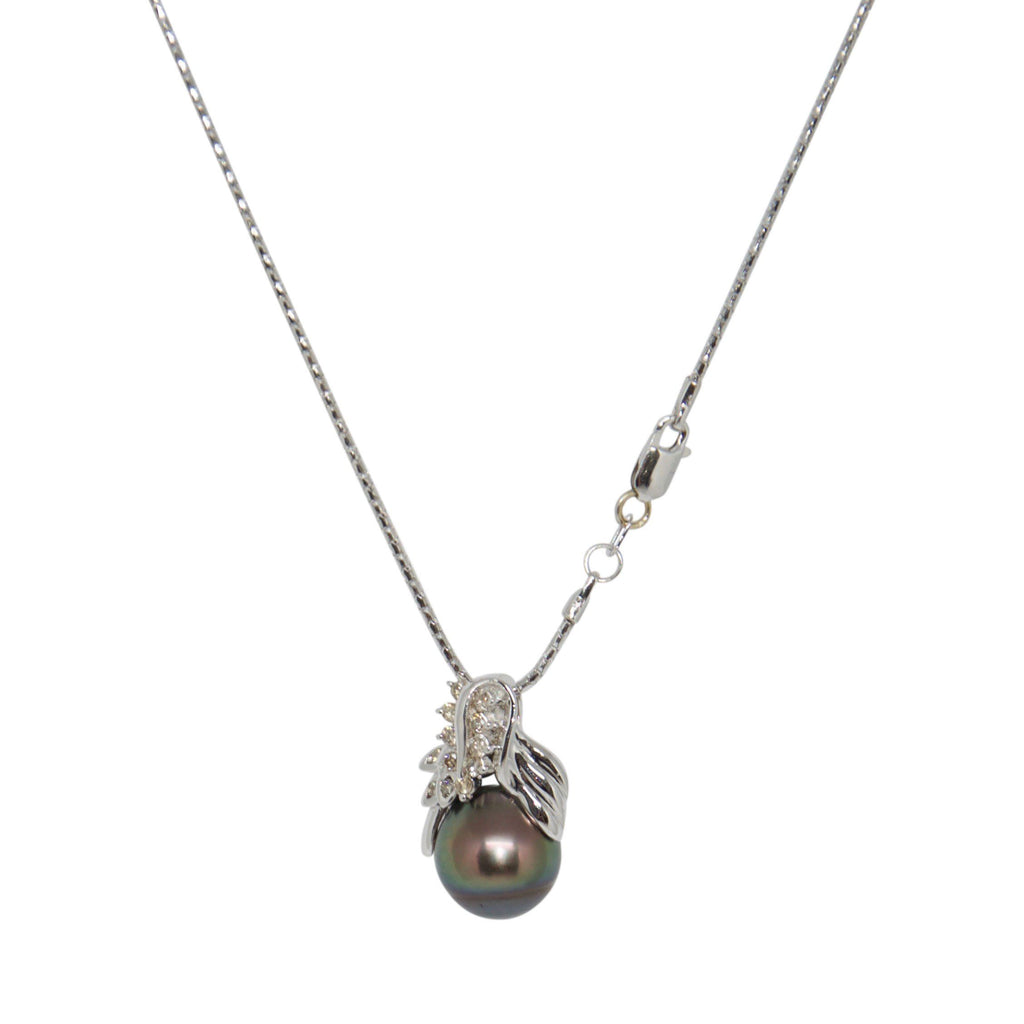 Tahitian South Sea Pearl And Diamond Pendant Necklace
