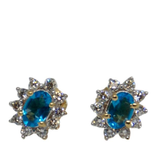 Blue Topaz & Diamond Stud Earrings Earrings Miscellaneous