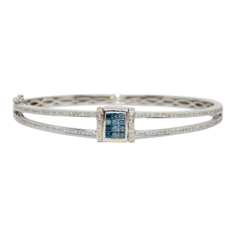 Blue & White Diamond Reversible Flip Top Bangle Bracelet