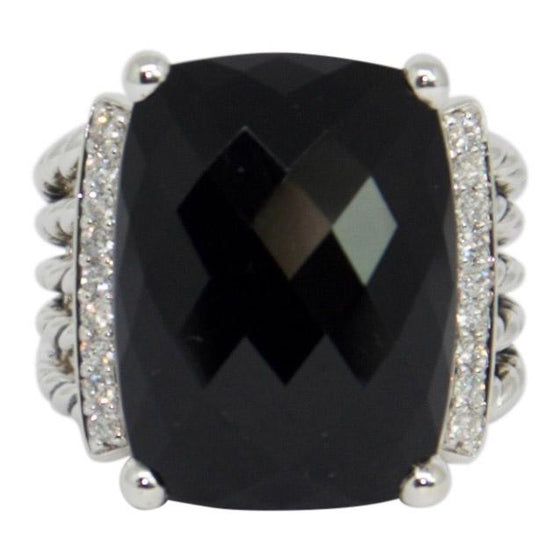 David Yurman Black Onyx And Diamond Wheaton Ring - Rings