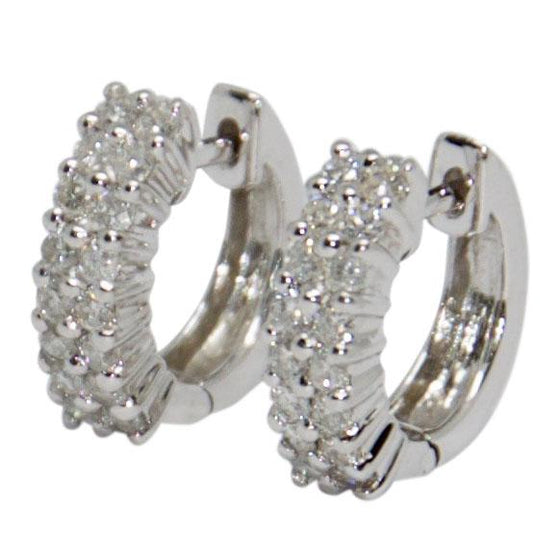 Two Row Diamond Huggy Earrings Earrings Miscellaneous