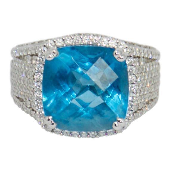 Blue Topaz And Diamond Ring - Rings