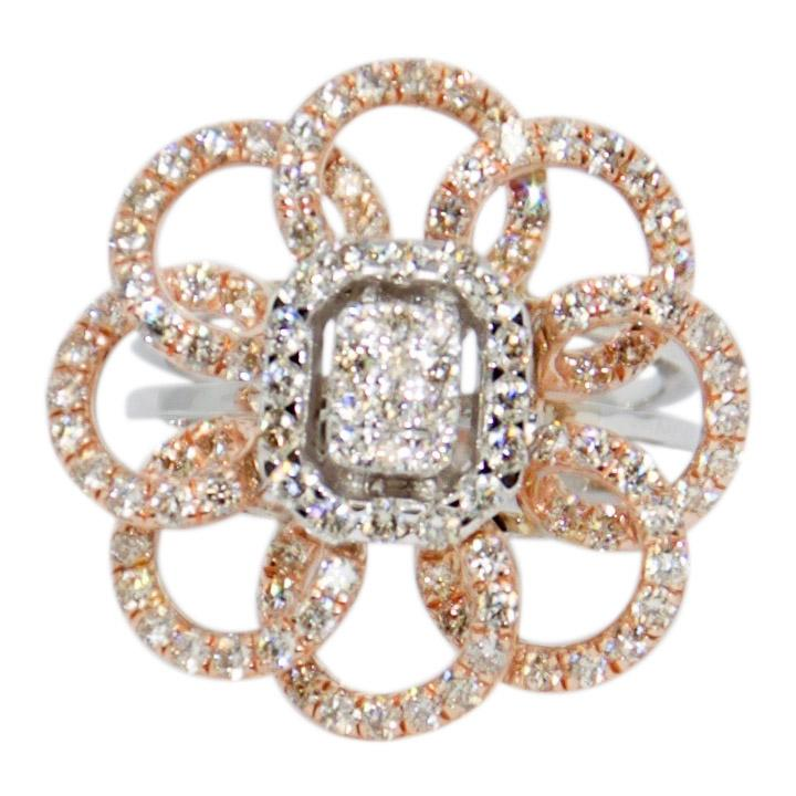 Two-Tone Floral Design Diamond Ring