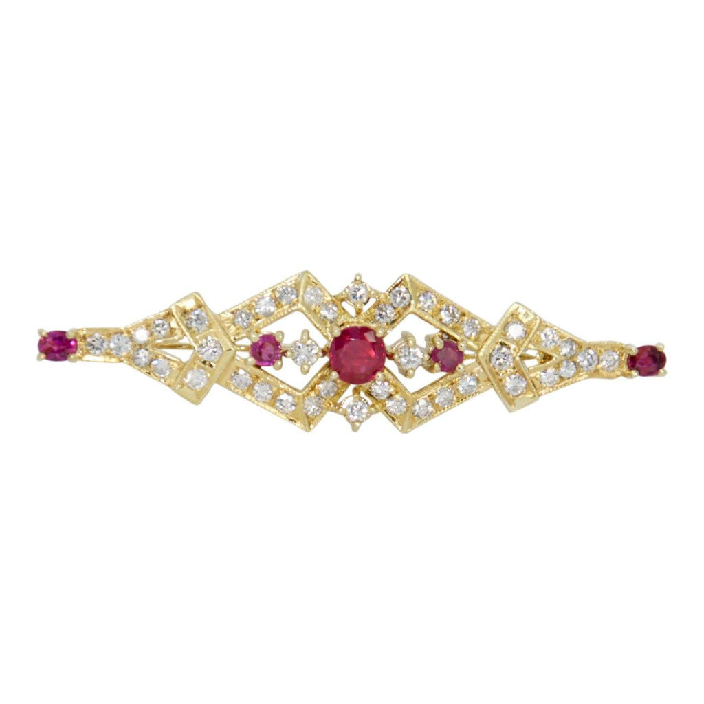Ruby And Diamond Bar Brooch - Brooches & Pins