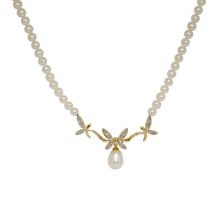 Diamond And Pearl Necklace - Necklaces