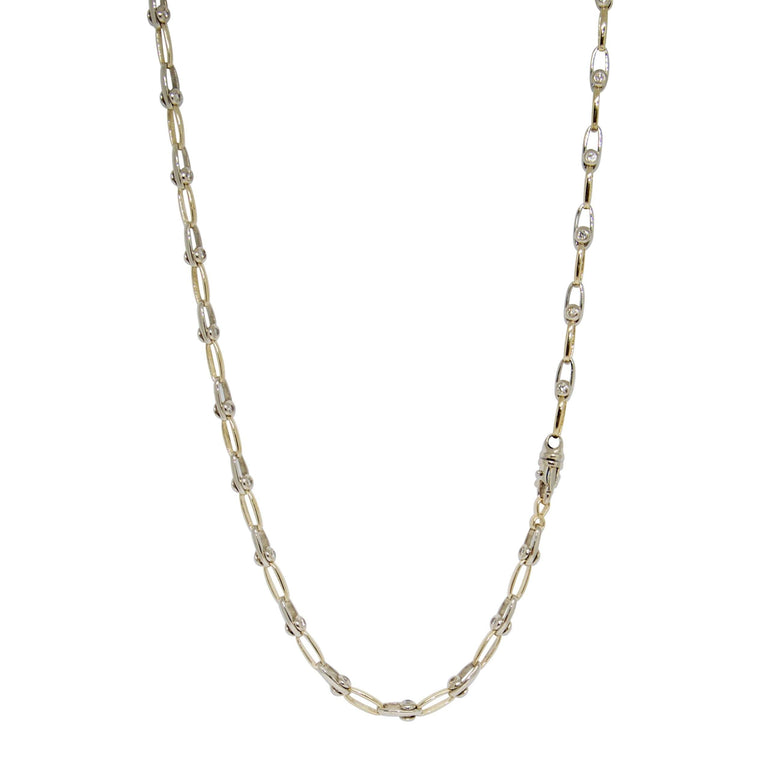 Two-Tone Double Sided Sliding Bezel Diamond Necklace - Necklaces