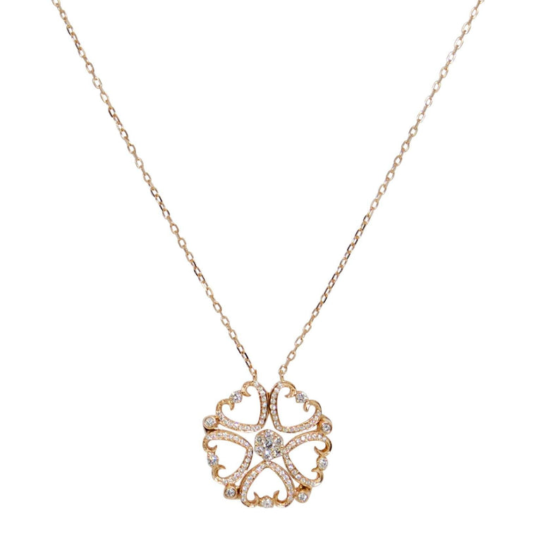 Diamond Hearts Pendant Necklace - Necklaces