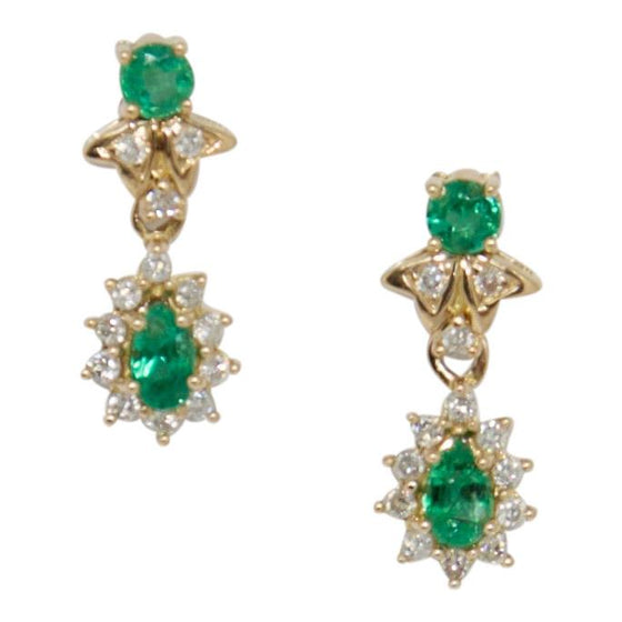 Emerald and Diamond Drop Earrings Earrings Miscellaneous