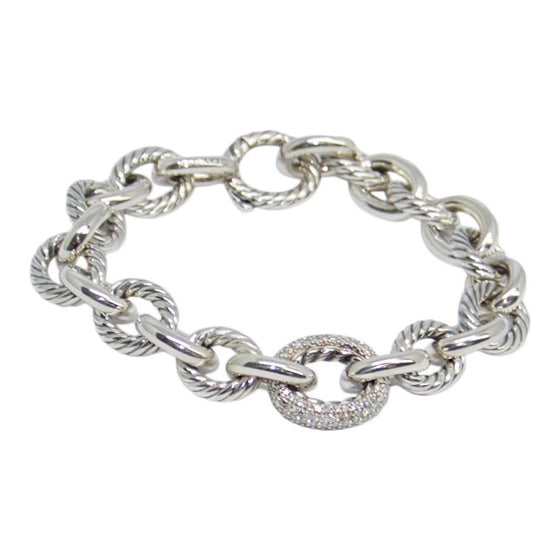 David Yurman Large Oval Link Bracelet With Diamonds - Bracelets