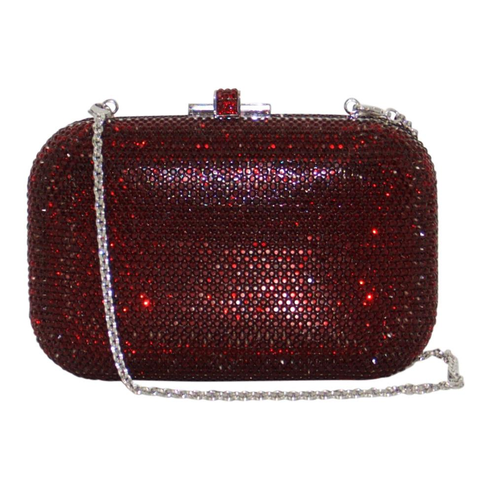 Judith Leiber Red Slide Lock Clutch