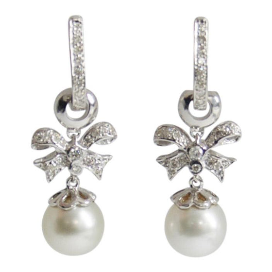 South Sea Pearl and Diamond Drop Earrings Earrings Miscellaneous
