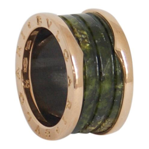 BVLGARI B.Zero1 Four-Band Ring with Rose Gold and Green Marble Rings Bulgari