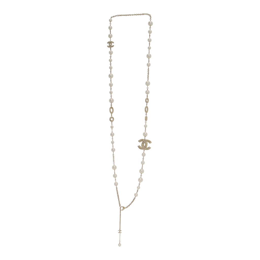 Chanel CC & Faux Pearl Necklace Necklaces Chanel