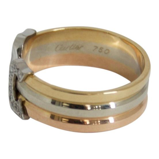 Cartier Trinity Logo Double C Ring with Diamonds