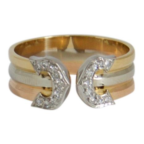 Cartier Trinity Logo Double C Ring with Diamonds Rings Cartier