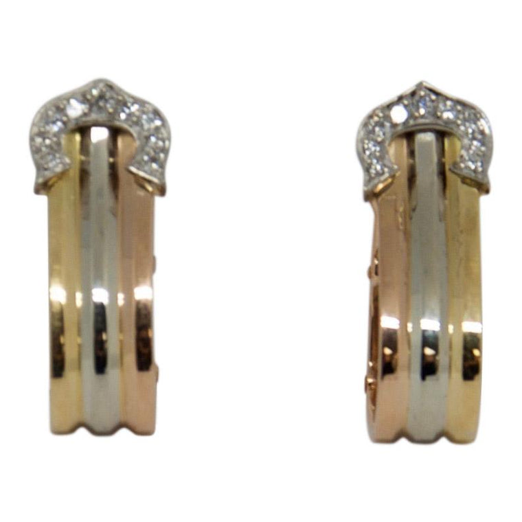 Cartier C De Cartier Trinity Earrings with Diamonds
