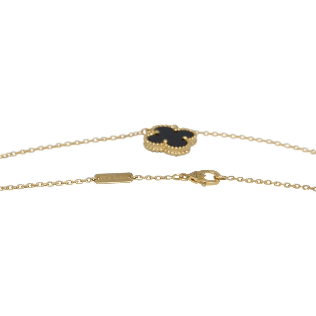 Van Cleef & Arpels Vintage Alhambra Black Onyx Pendant Necklace Necklaces Van Cleef & Arpels