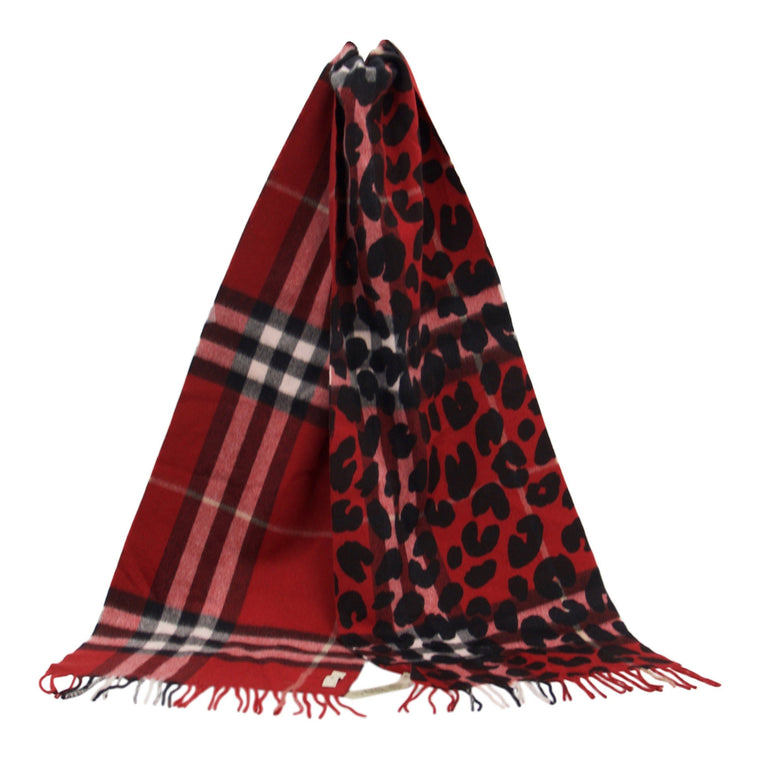 Burberry Red Check Leopard Print Cashmere Scarf