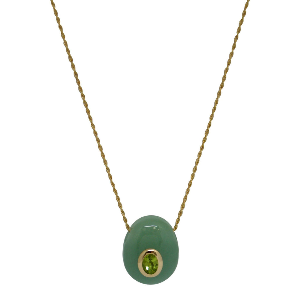 Geen Peridot & Jade Pendant Necklace Necklaces Miscellaneous