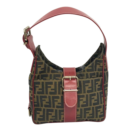 Fendi Leather-Trimmed Zucca Hobo Bags Fendi