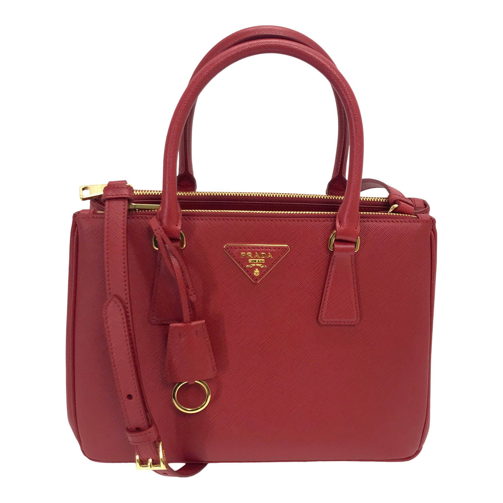Prada Small Saffiano Lux Galleria Double Zip Tote
