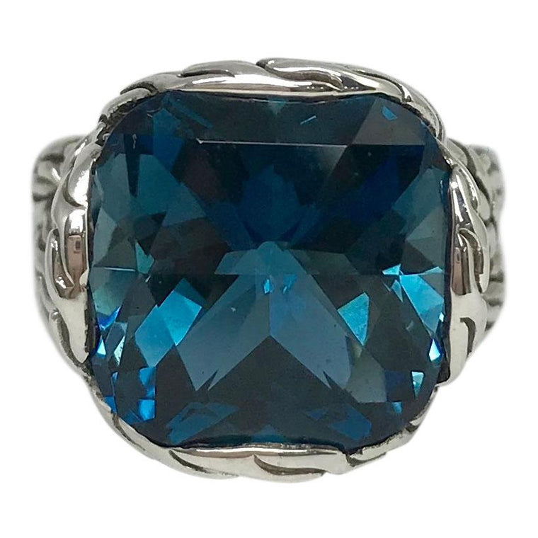 John Hardy Classic Chain Braided Ring with London Blue Topaz Rings John Hardy