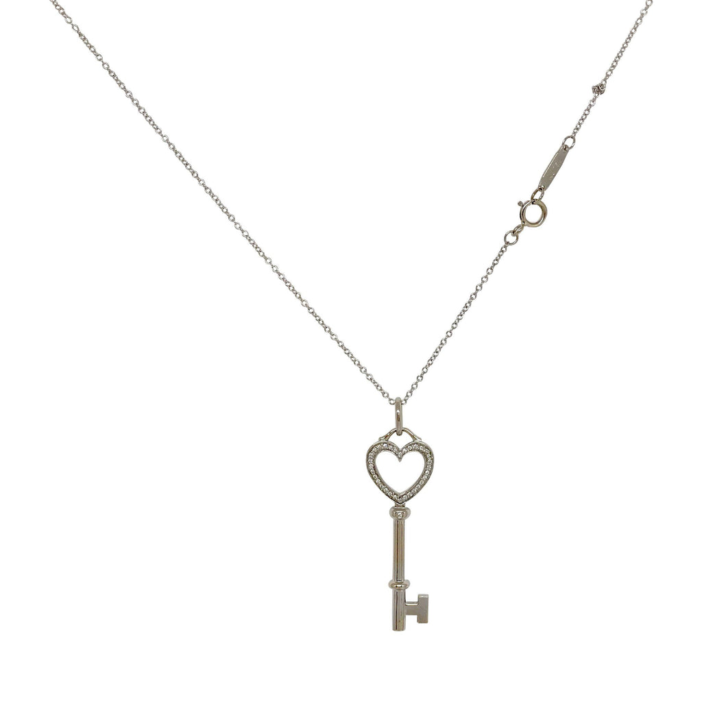 Tiffany & Co. 18k White Gold & Diamond Heart Key Pendant Necklace Necklaces Tiffany & Co.