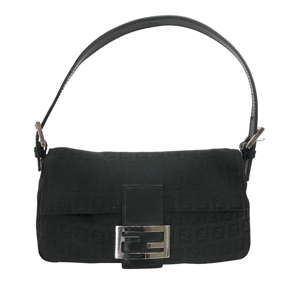 Fendi Leather-Trimmed Zucca Baguette Bags Fendi