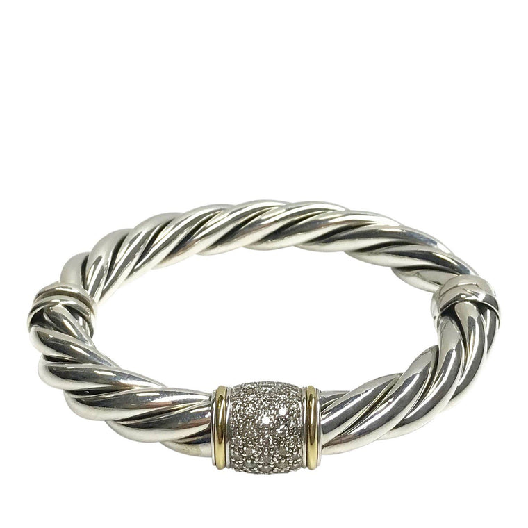 David Yurman Two-Tone 9 mm Cable Bracelet with Diamonds