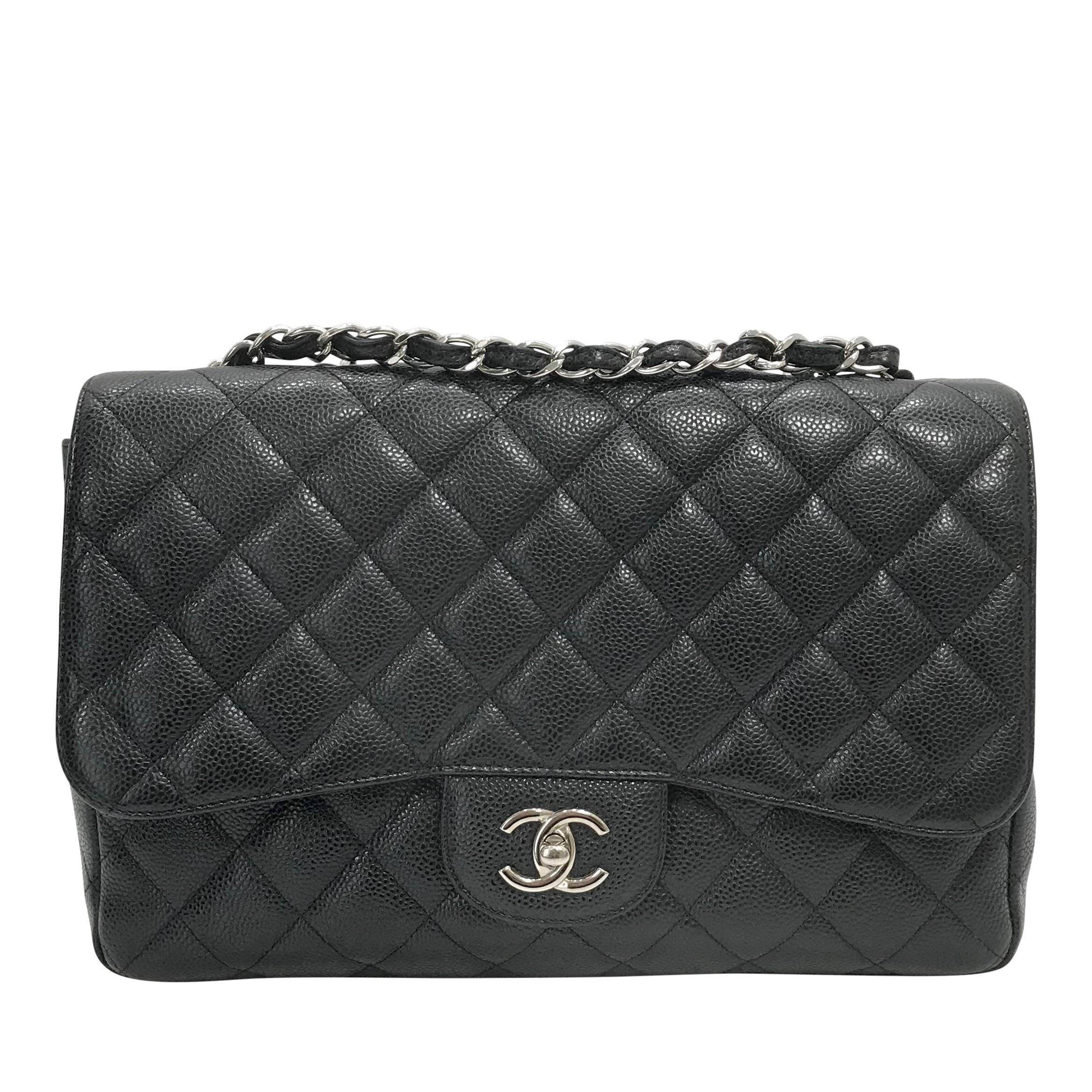 6152c9f936eb39 Chanel Black Caviar Classic Jumbo Single Flap Bag– Oliver Jewellery