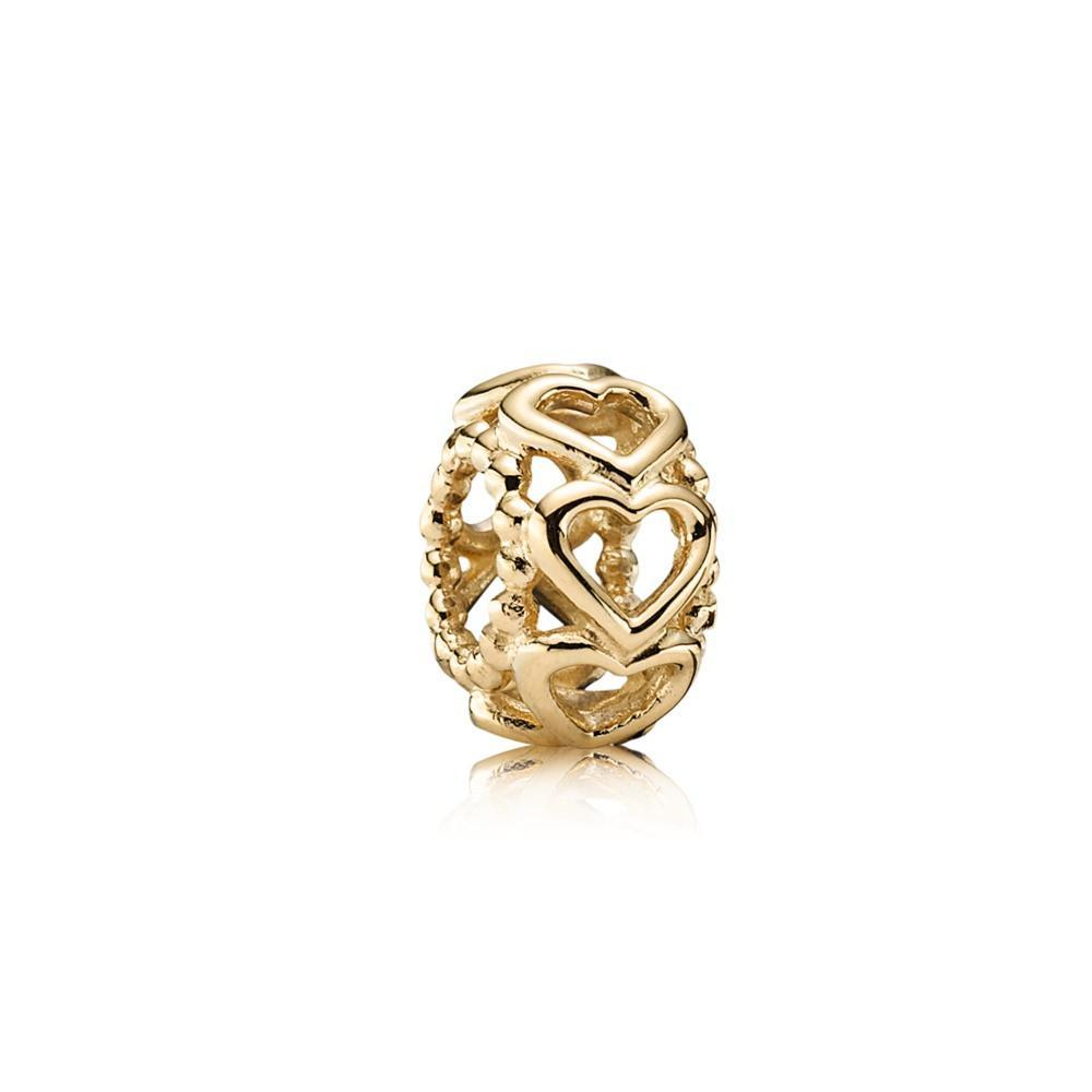 Pandora Gold Lucky in Love Spacer Charm Charms & Pendants Pandora
