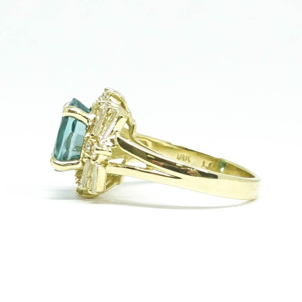 Blue Zircon And Diamond Cocktail Ring - Rings