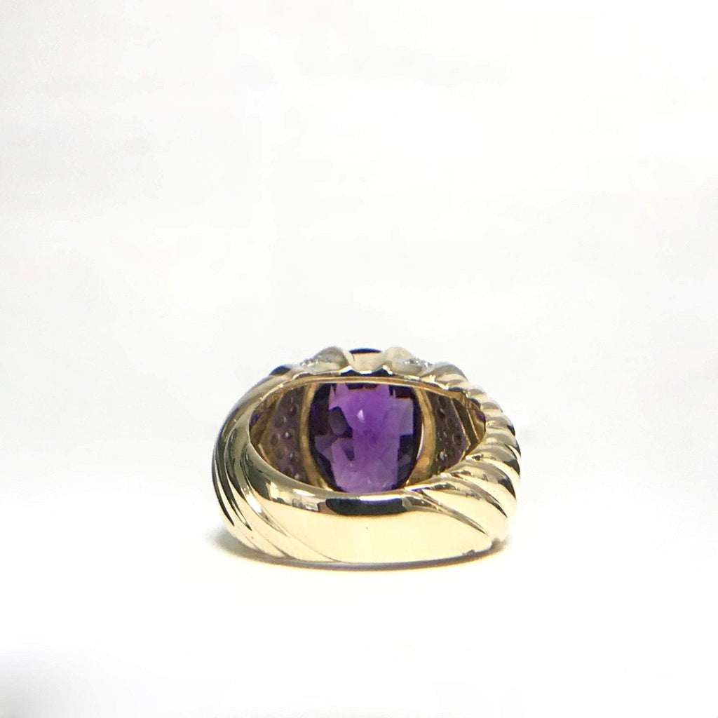 Amethyst And Diamond Cocktail Ring - Rings