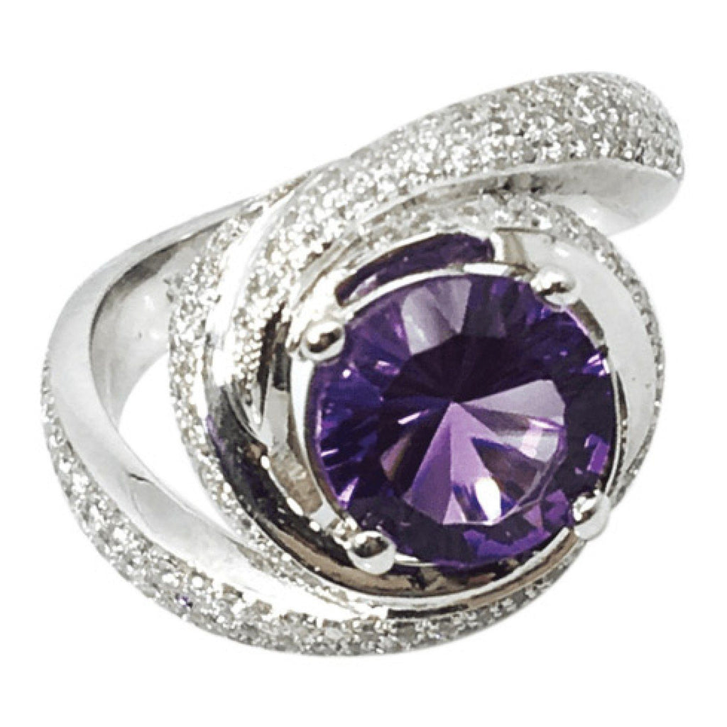 Amethyst And Diamond Cocktail Ring In Platinum - Rings
