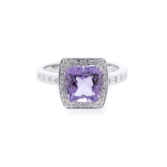 Amethyst and Diamond Cocktail Ring Rings Miscellaneous