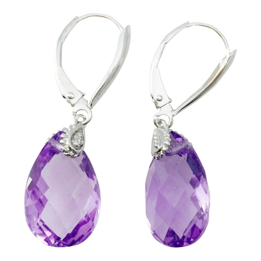 Amethyst And Diamond Earrings - Earrings