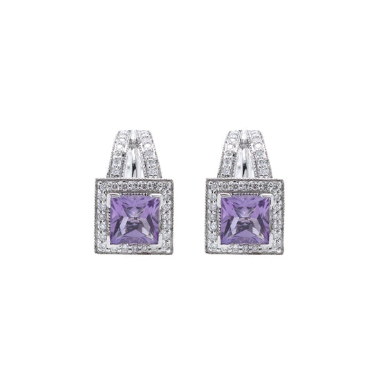 Amethyst and Diamond Earrings Earrings Miscellaneous